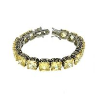 Antique 2 Tone Yellow Canary Cushion Cubic Zirconia Tennis Bracelet 15mm Stones