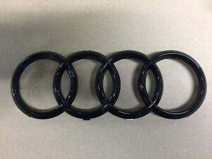 Original-Audi-Emblem-034-Ringe-034-schwarz-glaenzend-fuer-den-Kuehlergrill-A1-A3-A4-A5