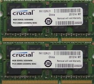 Crucial-ram-8GB-kit-DDR3-PC3-10600-1333MHz-for-latest-2010-amp-2011-Apple-iMac-039-s
