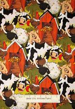Funny Farm Animals Hen House Pig Cow Sheep Allover Barnyard Cotton Fabric YARD