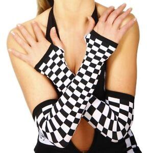 CHEQUERED-Arm-Warmers-GRID-GIRL-V8-Speed-Racer-COSTUME-Fingerless-GLOVES-Blk-Wht