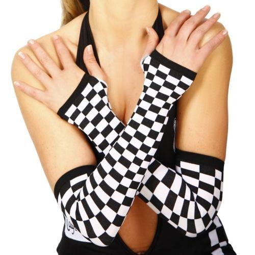 CHEQUERED Arm Warmers GRID GIRL V8 Speed Racer COSTUME Fingerless GLOVES Blk+Wht