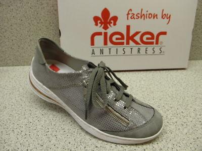 Rieker N5654 81 Damen Slipper Halbschuhe weiß, Schuhgröße:42 EU, Farbe:Weiß