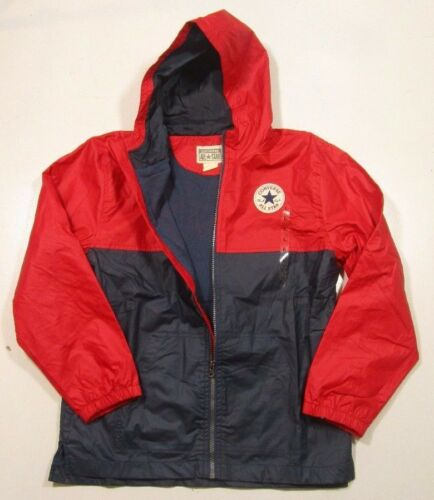 Converse Boys Full Zip Red /& Blue Color Block Hooded Jacket