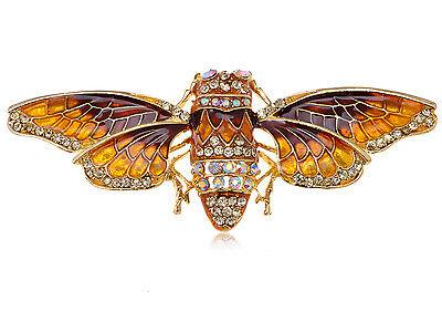 6 PC Gold Tone Rhinestone Moth Bug Insect Brooch Pin Fashion Pin Brooch B0142