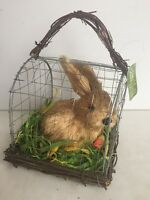 Raz Imports Sisal Bunny In Wire Cage