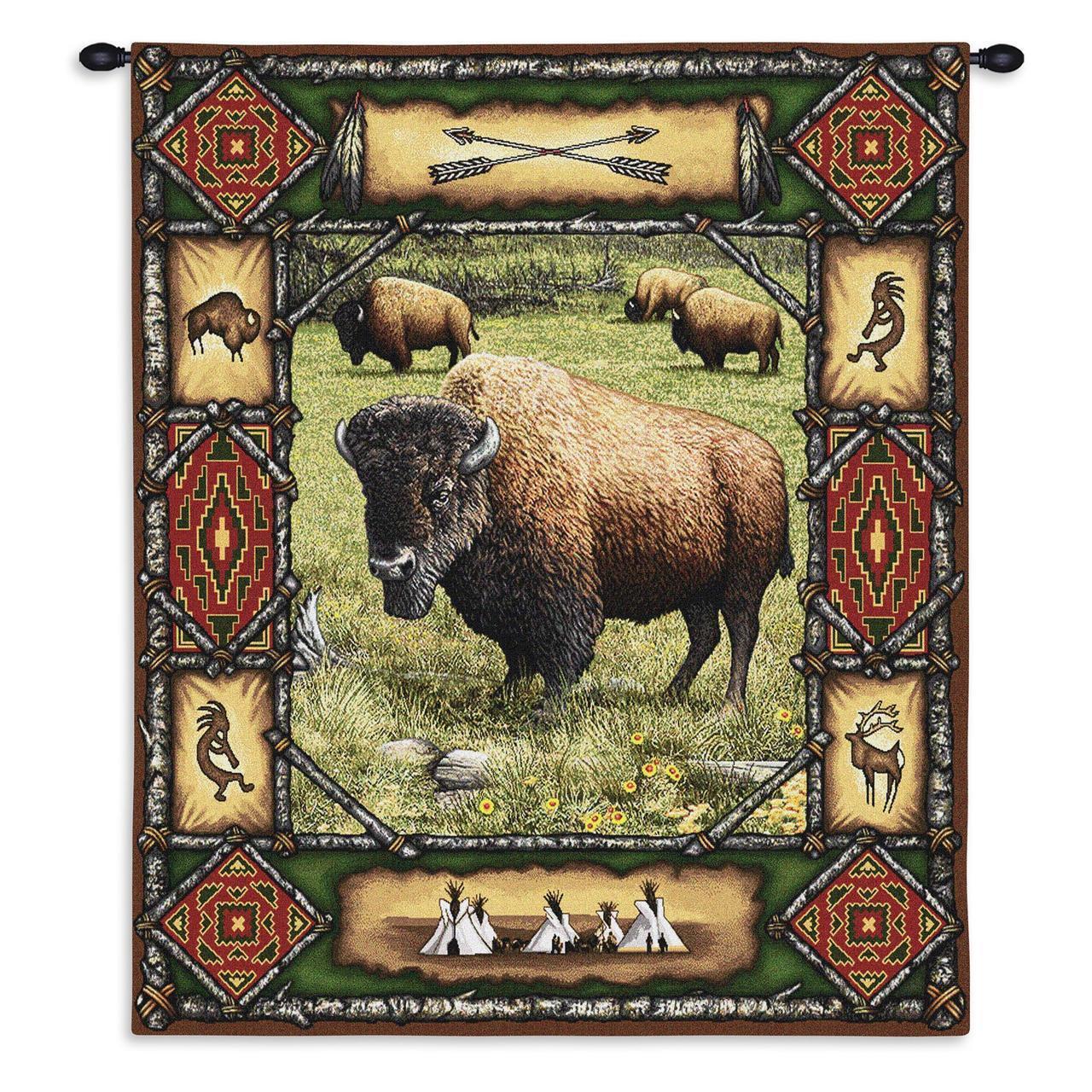 26x34 Buffalo Lodge Southwestern Wildlife Tapiz Colgante De Parojo