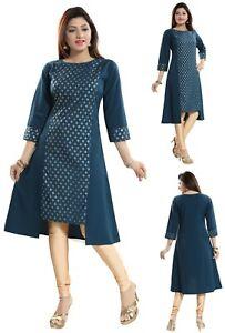 Women-Indian-Top-Printed-Green-Asymmetric-Kurti-Tunic-Kurta-Shirt-Dress-SC2303