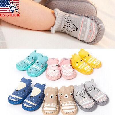 New Baby Girl Boy Anti-slip Socks Slipper Warm Cartoon Shoes Boots 0-12 Month PK