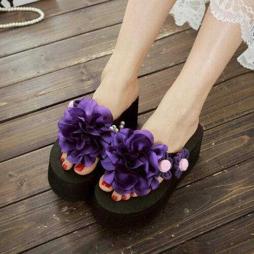 Women Flower Decor Platform Wedge Heels Beach Flip Flops Sandal Slipper Shoes 38