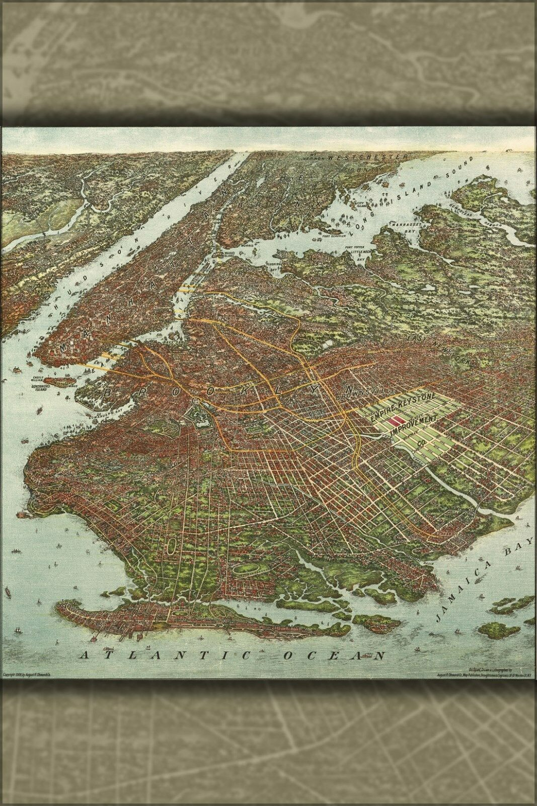 Affiche, Plusieurs Tailles; Carte de de de Brooklyn Ville de New York 1904 | Good Design