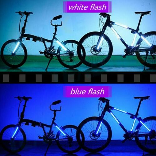 Battery Operated Bicycle LED Strip Lights Waterproof Wheel Frame Lamp 8 Mode New