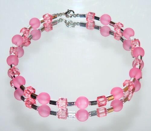Collar Collier acrílico perlas y cubo Cube rosa plata 426d