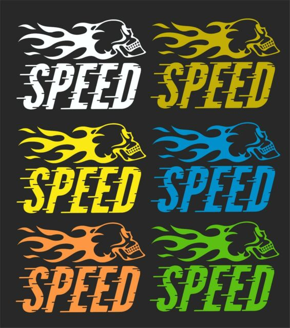 SPEED FLAMING SKULL CAR WINDOW DECAL..2 FOR 1....PICK YOUR SIZE AND COLOR