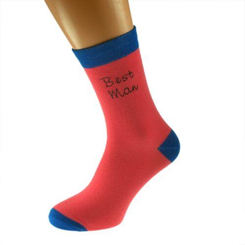 Salmon Pink//Dark Blue Mens Funky Wedding Socks UK 5-12 In Various Roles X6TCW010