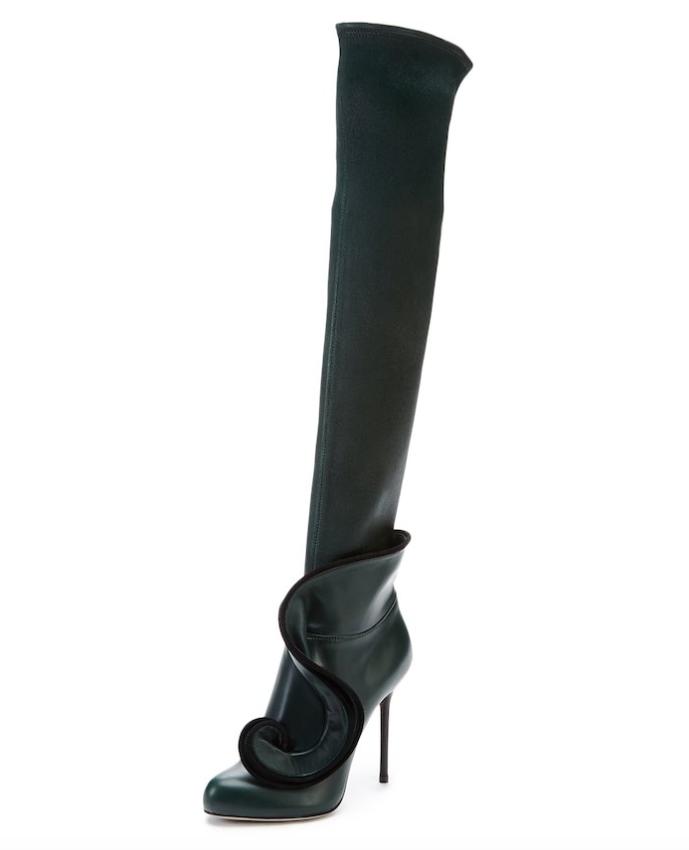 Sito ufficiale Sergio Rossi Swirl Over Knee Leather avvio avvio avvio verde donna Sz 40 5662  una marca di lusso