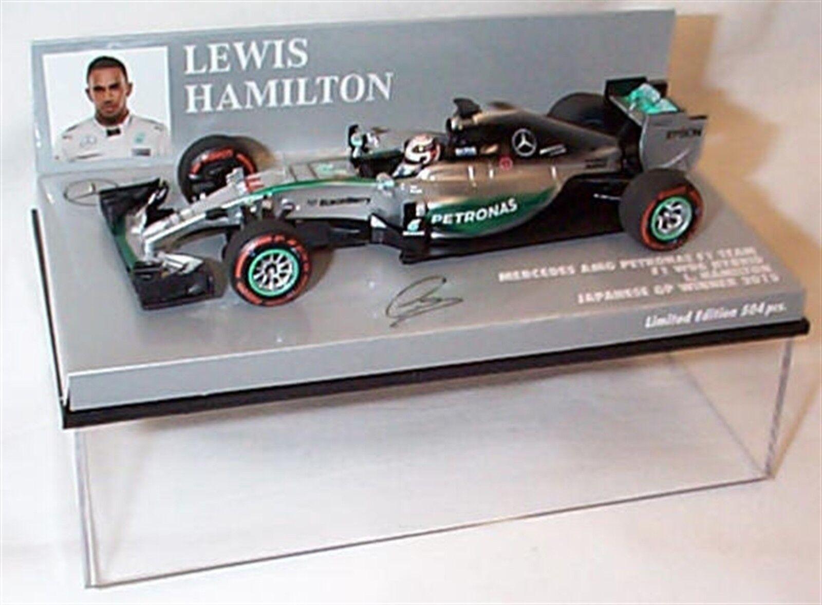 NEW 1 43 Minichamps 417150344 Mercedes W06, winner Japanese GP 2015 Hamilton