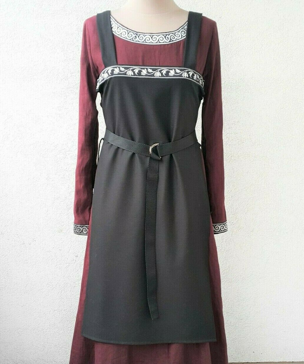 Viking apron the black for women Historical medieval outfit.