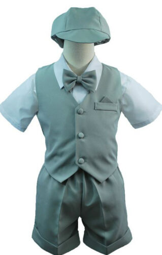 New Infant Boy /& Toddler Eton Formal Vest shorts Suit New born to 4T Silver Gray