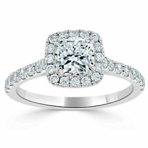 1.20 Ct Cushion Moissanite Anniversary Ring Solid 18K White Gold ring Size 8 9