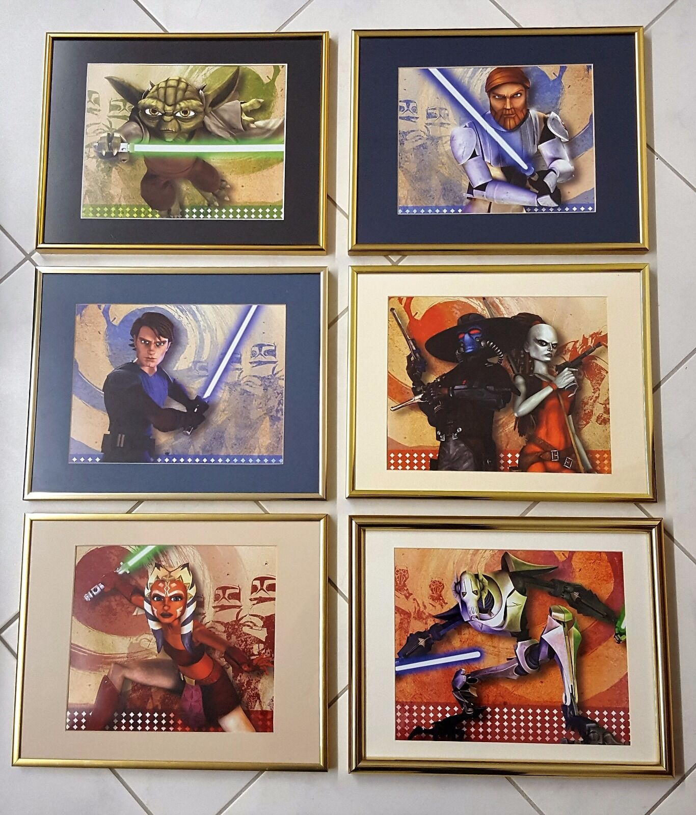 Star Wars Clone Wars Framed Artwork  Lot of 10 pieces  with Art, Mats & Frames