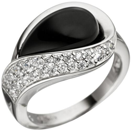 Señoras de anillo de anillo de plata ónix real plata con cubic zirconia anillo 1 Negro Onyx
