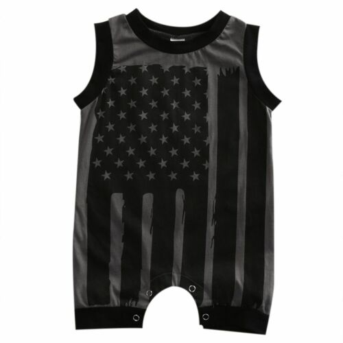Newborn Kids Baby Boys Sleeveless Striped Flag Romper Jumpsuit Clothes Outfits