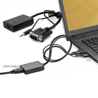 VGA To HDMI Output 1080P HD+Audio TV AV HDTV Video Cable Converter Adapter OK