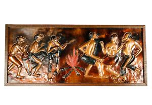 Kupfer-Bild-Maitre-Mwenze-Mungolo-Afrikanische-Volkskunst-Zaire-3D-Relief-1981