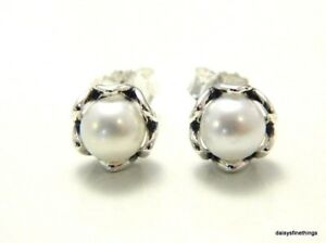 edca8241a Image is loading AUTHENTIC-PANDORA-SILVER-EARRINGS-CULTURED-ELEGANCE -290533P-HINGED-