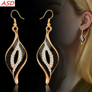 Details About Fashion Women Enamel Hollow Leaf Lip Gold Earrings Tiny Crystal Party Jewelry