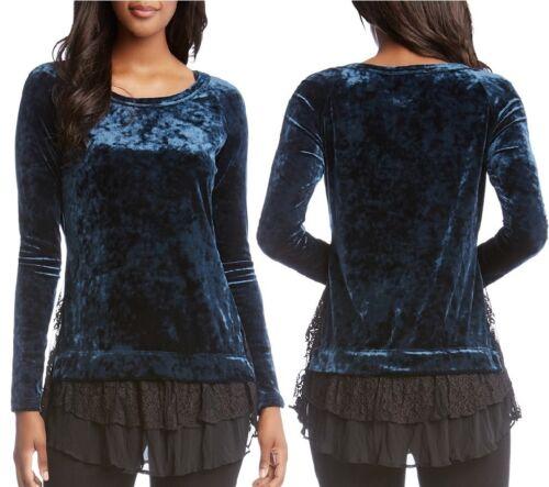 $128 Karen Kane 3N94861 Teal Blue Stretch Crushed Velvet//Black Lace Inset Top