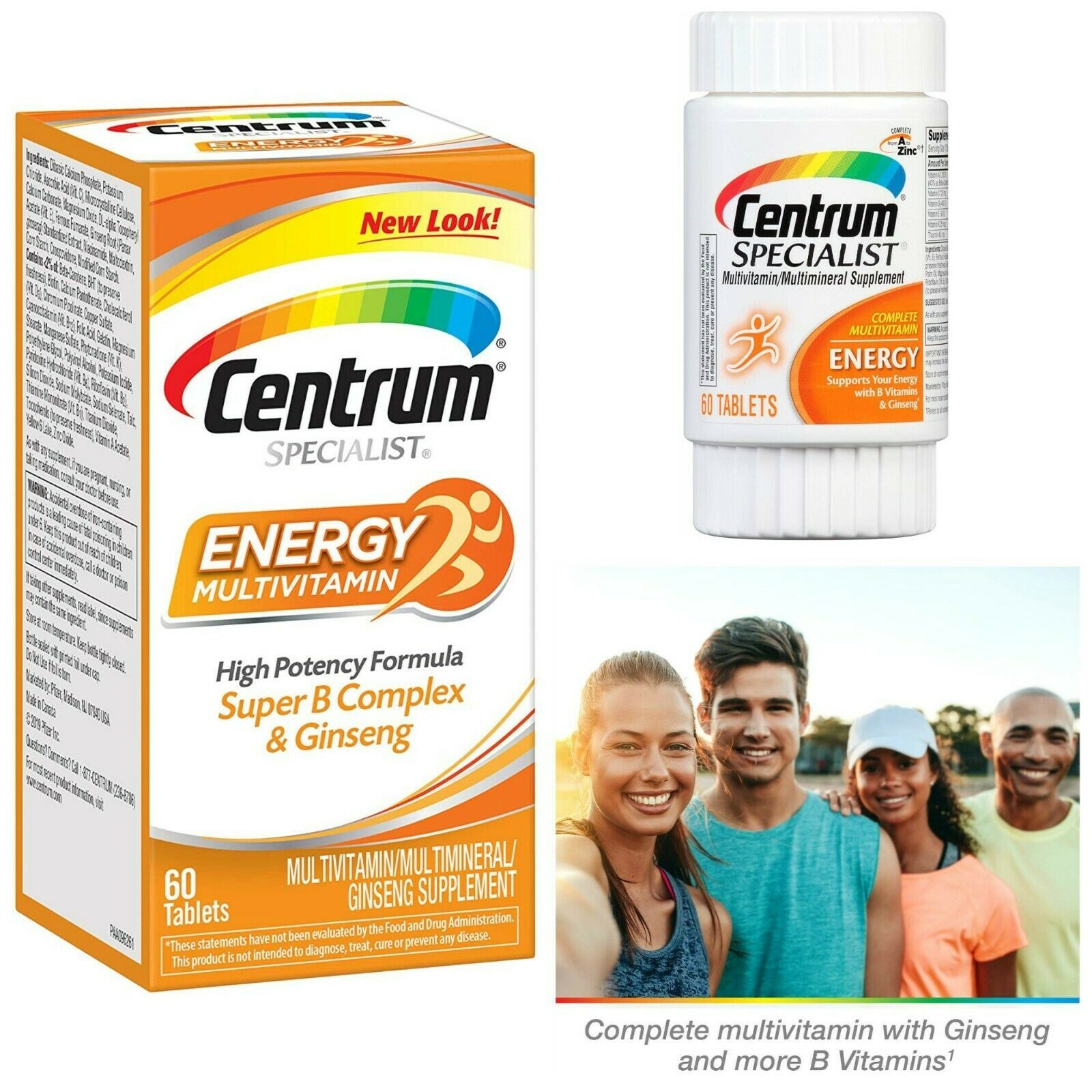 Centrum Energy Multivitamin Supplement 60 Tablets With Ginseng For Men And Women 300054470607 Ebay