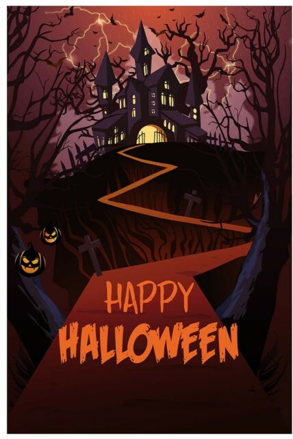 Myroh Happy Halloween Haunted House Scary Castle Bats Ghost Spooky Garden Flag 1 For Sale Online Ebay
