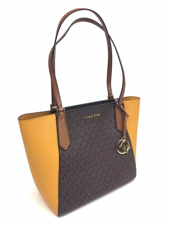 cf7a4959da3b Michael Kors Kimberly Marigold Yellow Brown Signature Small Bonded Tote Bag  for sale online | eBay
