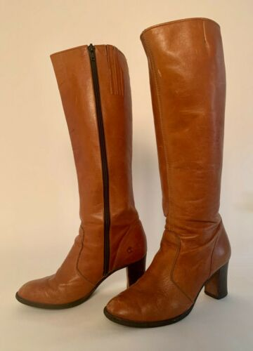 1960s 1970s Vintage Brown leather Boots 8 Boho Cam