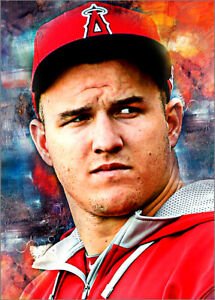 2020 Mike Trout Angels Baseball 3/25 Art ACEO  Print Card By:Q