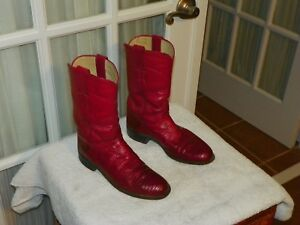 JUSTIN WOMENS 5 B L3097 RED LIZARD LEATHER ROPERS COWBOY WESTERN BOOTS
