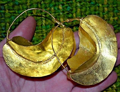 Larger African Fulani Tribal Lightweight Gold Washed Brass Metal Earrings Africa