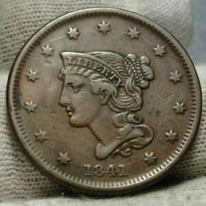 1841-Large-Cent-Penny-Braided-Hair-Penny-Nice-Coin-Free-Shipping-9367