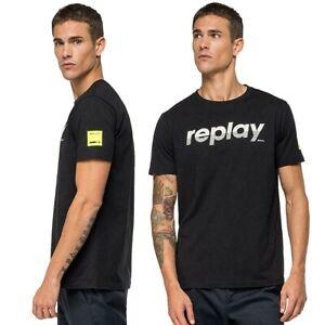 T-shirt-da-uomo-REPLAY-manica-corta-girocollo-maglietta-cotone-nero-tshirt-M3005