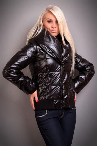 Damen Winterjacke Steppjacke Wetlook mit XL Kragen
