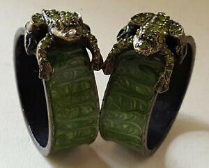 Russische grün emailliert Metall Vintage Viktorianisch Antik Paar Frosch Servietten Ringe