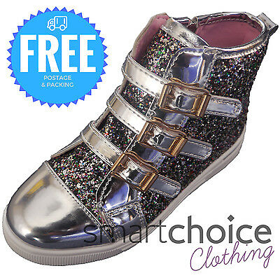 Kids Girls Glitter Coloured Sequin Buckle Up Boots Chunky Shoes Size Zipper
