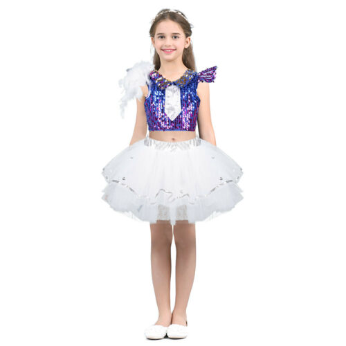 Girl Sequin Dance Dress Street Jazz Ballet Dance Outfit Shiny Tutu Skirt Costume