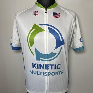 PACTIMO Go Kinetic Multisports USA Triathlon Cycling Jersey Short Sleeve Shirt L