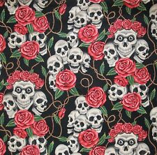 Alexander Henry ROSE TATTOO Fabric Skulls Roses Day of the Dead Día de Muertos
