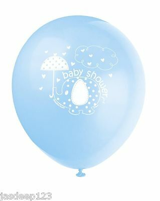 8 Baby Shower Party Balloons Latex Helium Air Blue Umbrellaphants Supplies Boy
