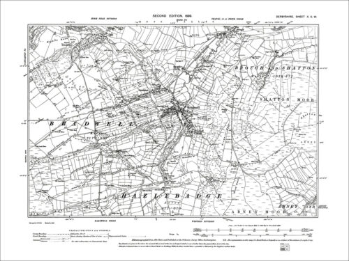 Smalldale Old Map Derbyshire 1899: 10-SW Bradwell Brough