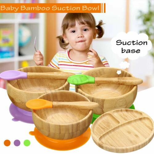 HOT Bamboo Baby Anti Spill Bowl Universal Kids Feeding Spoon Bowl Tableware Set